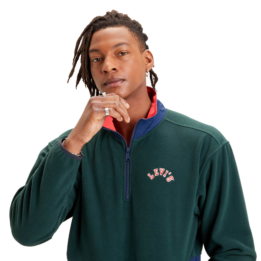 Levi's® Quarter Zip Polar Fleece Men - Varsity Color Block Python Green (35978-0001)