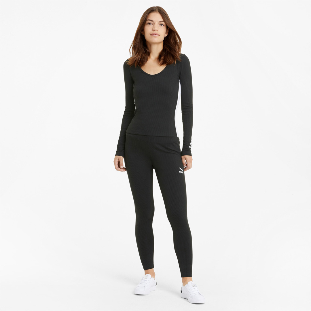 PUMA Classics High Rise Rib Women Leggings - Black (599598-01)