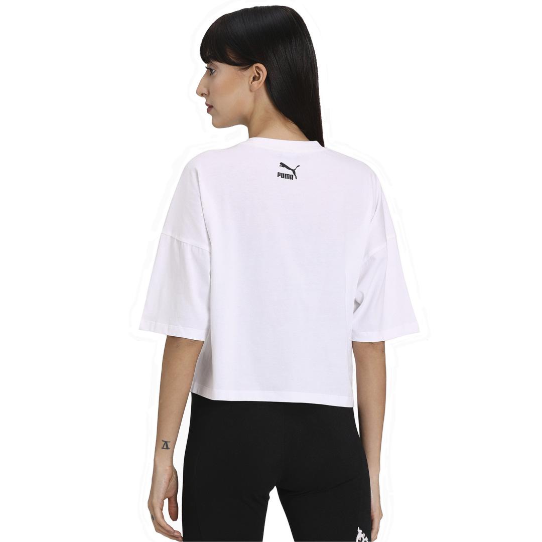 PUMA Classics Loose γυναικείο μπλουζακί κοντομάνικο - Λευκο (597726-52)