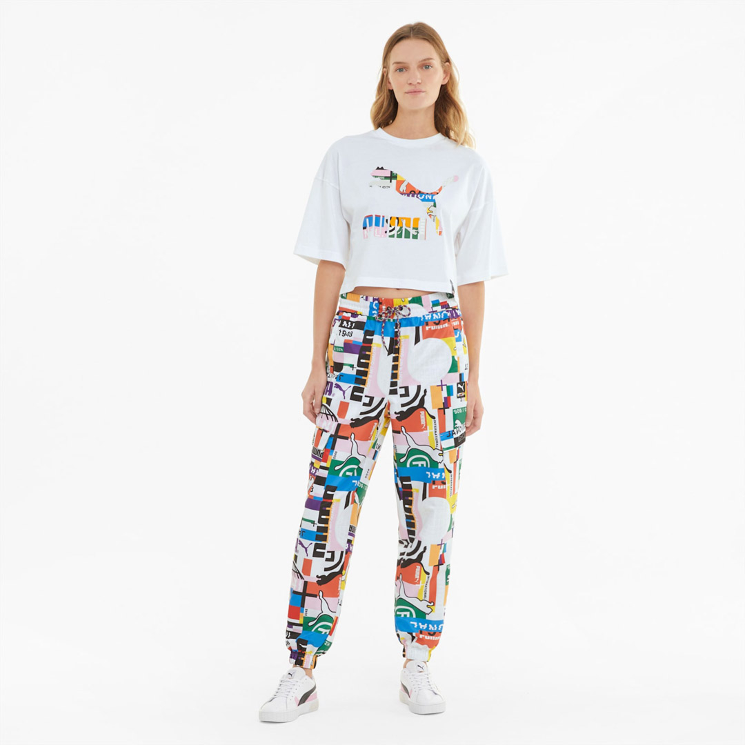 PUMA International Printed Women Track Pants - White (530243-02)