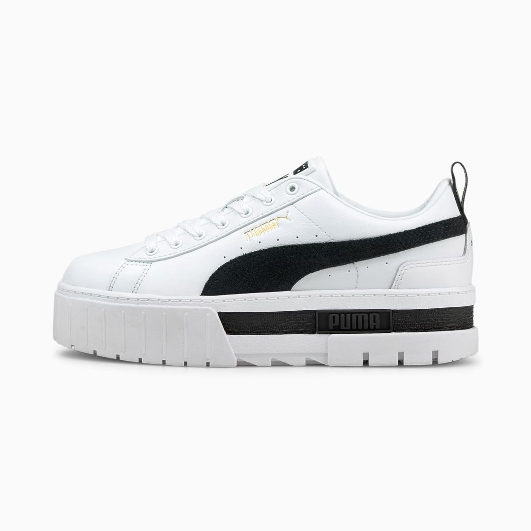 PUMA Mayze Leather Women Sneakers - White/ Black (381983-01)