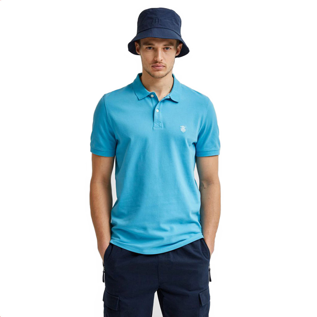 SELECTED Haro Embroidery Polo (16049517-Horizon Blue)