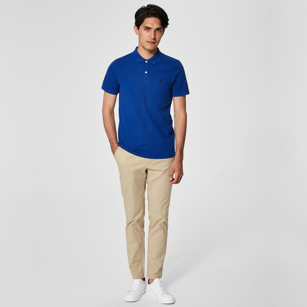 SELECTED Haro Embroidery Men Polo (16049517-Limoges)