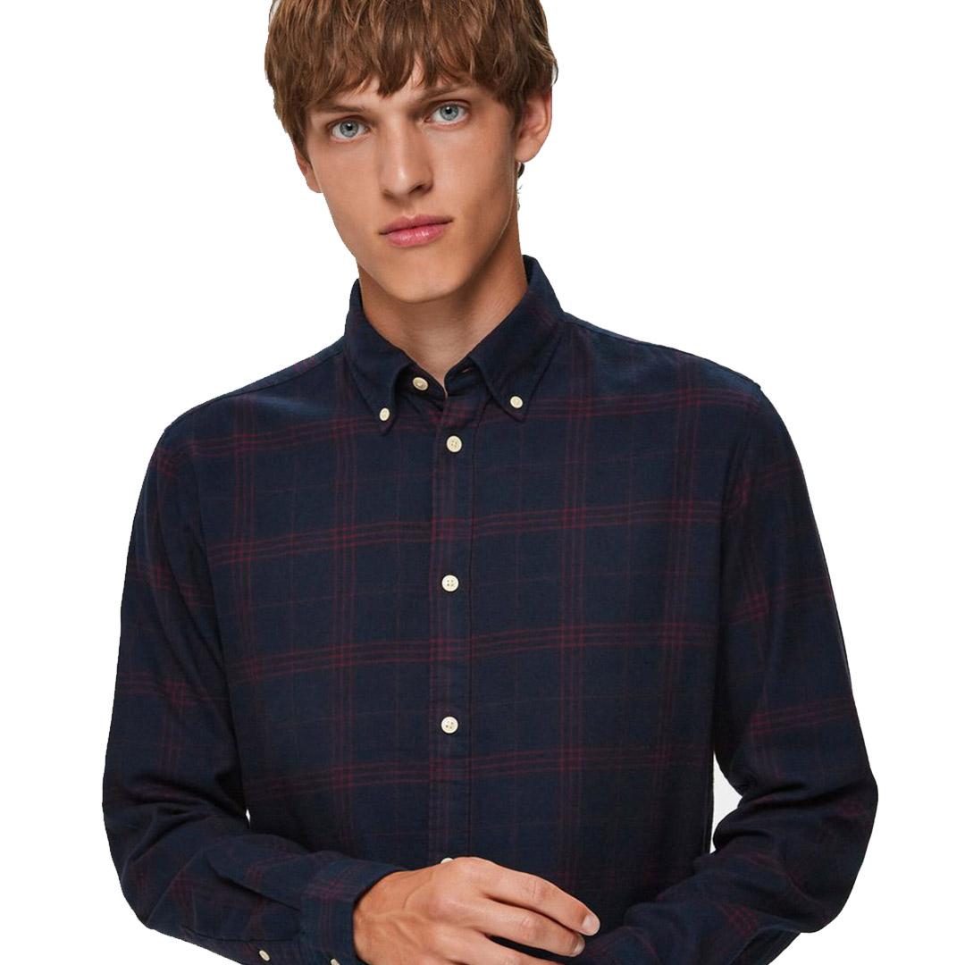 SELECTED Slim Flannel Shirt - Dark Sapphire (DK-16074464)