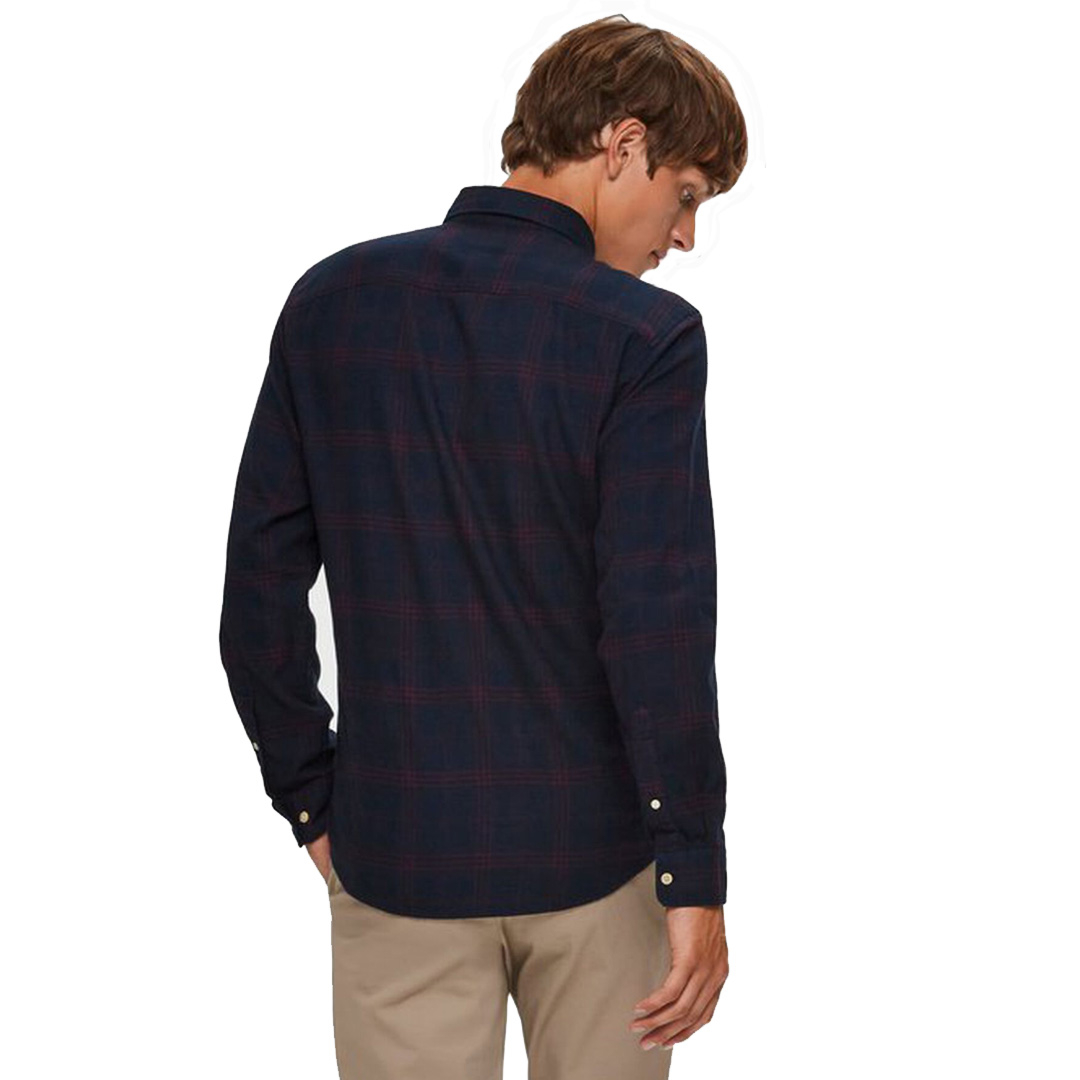 SELECTED Men Slim Flannel Shirt - Dark Sapphire (DK-16074464)