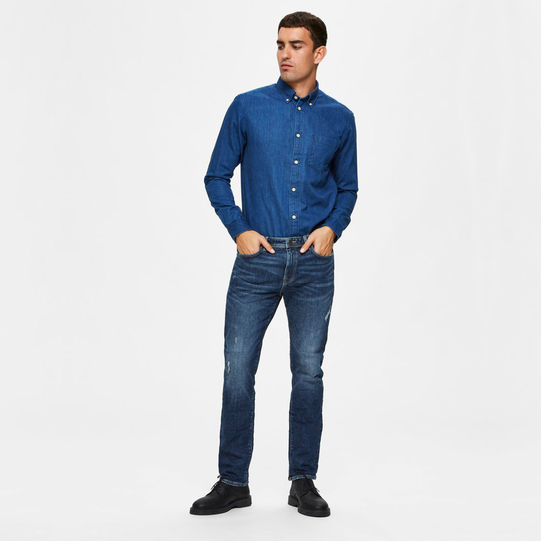 SELECTED Men Leon Jeans Slim - Medium Blue (16075446)