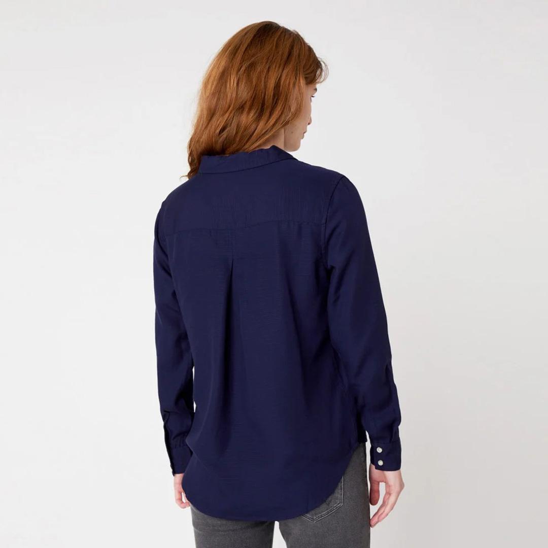 WRANGLER 1 Pocket Stripe Women Shirt - Navy Blue (W5R42MXKB)