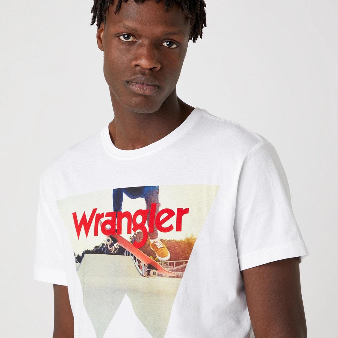 WRANGLER Μπλουζάκι Ανδρικό με Στάμπα Λευκό (W7G7D3XW1)