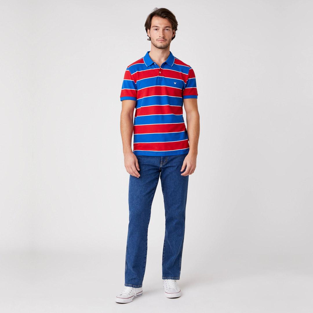 WRANGLER Πόλο Μπλουζάκι Ριγέ - Κόκκινο Μπλε (W7ALKFXA4)