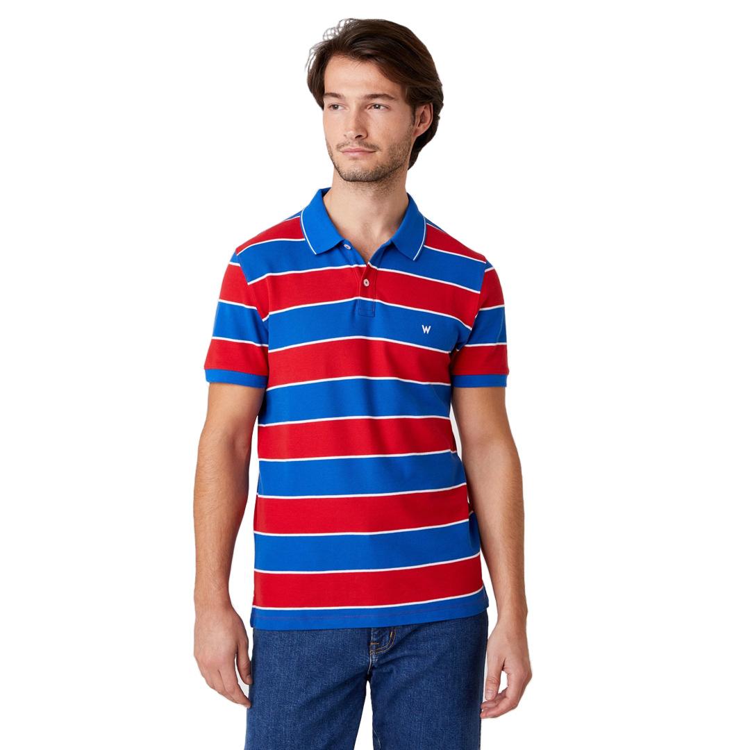 WRANGLER Stripe Polo - Rococco Red (W7ALKFXA4)