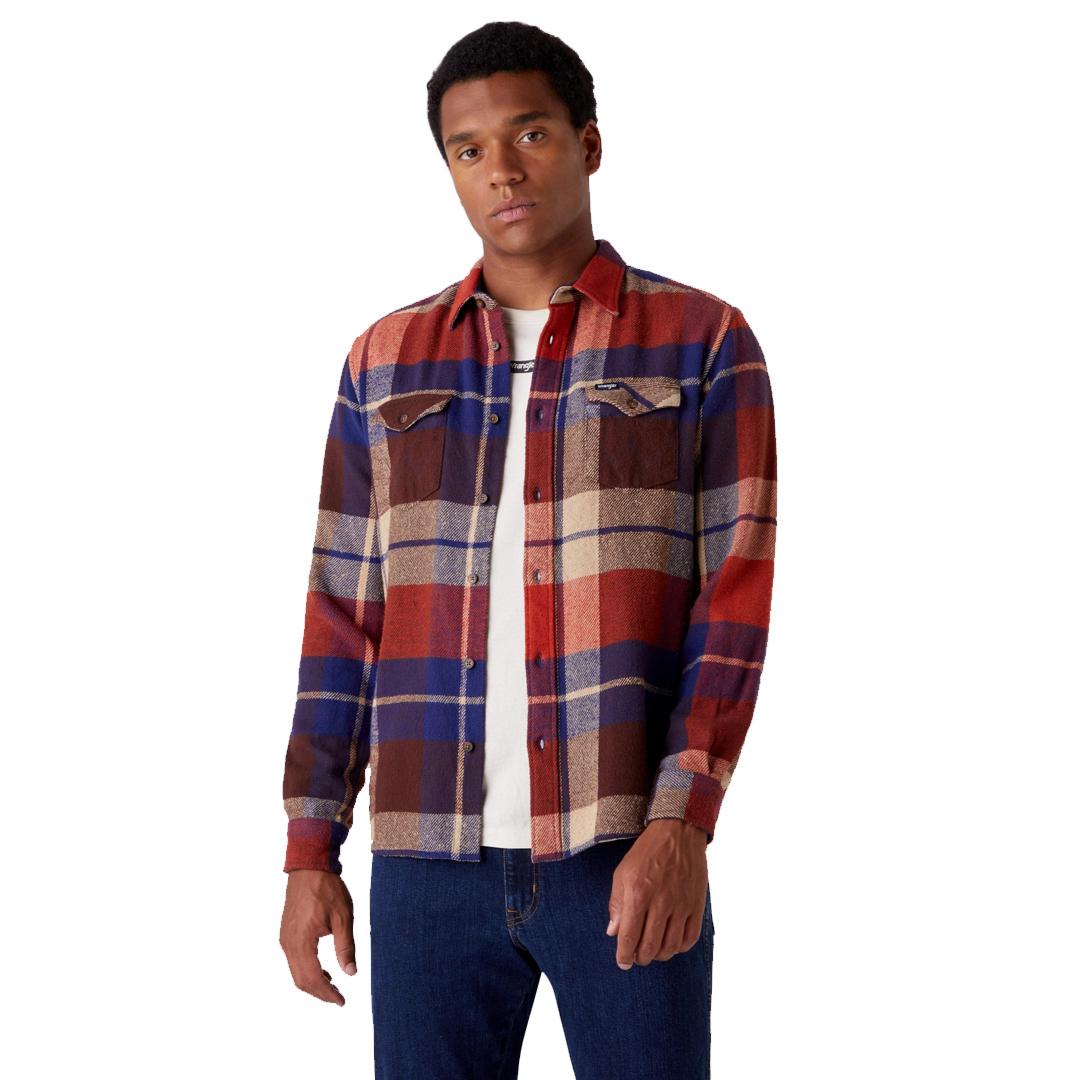 WRANGLER Two Pocket Flap Shirt - Patriot Blue (W5AF8QX5H)