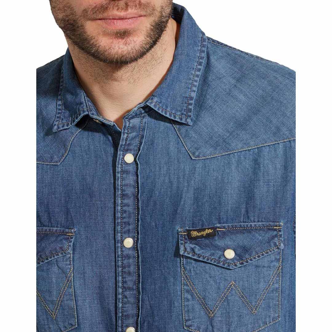 WRANGLER Western Jean Shirt Men - Mid Indigo (W5973O78E)